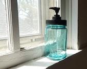 Vintage blue Ball Mason Jar Soap Dispenser with rustproof black pump lid, 1915-1923