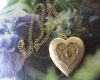 Gold Plated Heart Locket Necklace With Vintage French Cherub Front