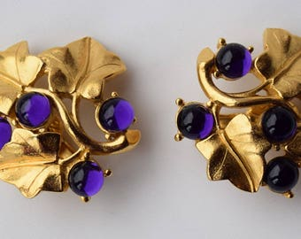Trifari Grape Earrings designed by Kunio Matsumoto