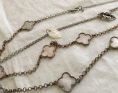 1920s Flapper Style Long White Irridescent Mother of Pearl Clover Necklace One of Kind Orig Design 48""