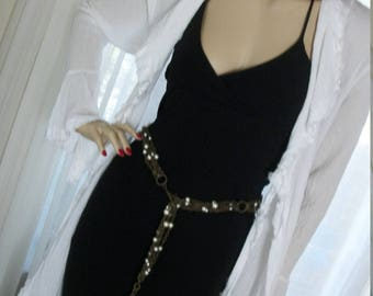 1920s Flapper Style Vintage Pearl and Brass Chain Tassle Belt One Size Fits Most