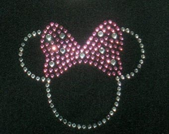 """SALE Tiny 2.5"""" PINK Minnie Mouse iron on hot fix rhinestone transfer for Disney t-shirt"""