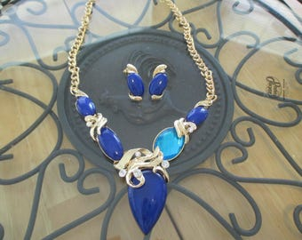 Vintage costume jewelry  / necklace and pierce earring set was 10.00 now 6.00