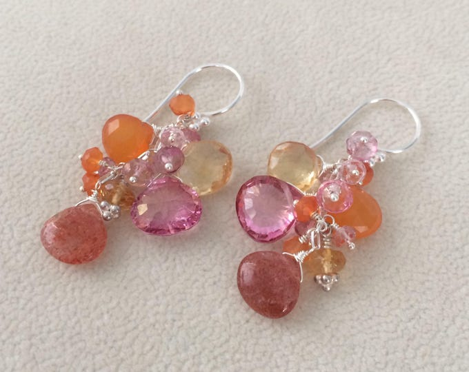 Gemstone Cluster Earrings in Sterling Silver with Sunstone, Mystic Rubellite Pink Topaz, Citrine, Pink Tourmaline, Orange Carnelian
