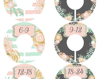 ON SALE 6 Precut Baby Closet Dividers, Baby Shower Gift, Floral, Pink, Gold, Mint Nursery Decor Clothing Baby Clothes