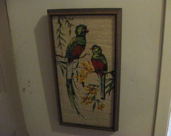 antique cross stitch birds in a wood frame