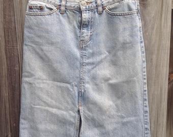 Gap acid wash denim long jean skirt