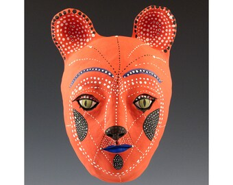 Andrew the Red Cat - Ceramic Wall Mask by Jenny Mendes