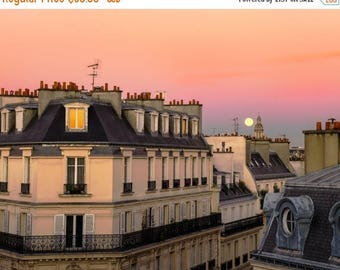 SUMMER SALE-Ends July 5- Paris Moon Photograph, Apartment Building Photo Paris Sunset Neutral Colors Wall Art Home Decor par208