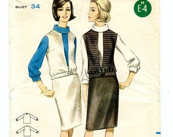 Vintage 60s Butterick 3371 Women's Cowl Neck Blouse, Sleeveless Blouson Vest and Knee Length Skirt UNCUT Sewing Pattern Size 14 Bust 34