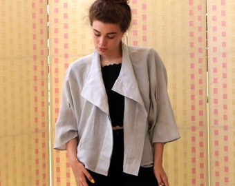 Linen jacket, women bomber ,  kimono style blazer , pockets, light grey, black