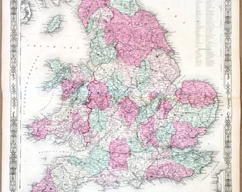 Original 1864 Johnson's Atlas map of England and Wales Hand Colored