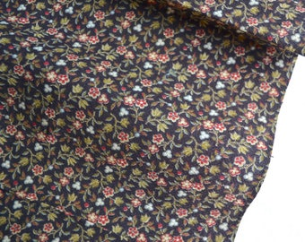 Antique 1800's Fabric - Red Petite Floral on Black - 26 x 35