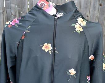 Vintage Lounge Robe - NPC Zip Front Mandarin Collar - Flowers on Black - SM NOS