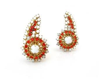 HOBE Milk Glass Climber Earrings | Huge Orange Rhinestone Clip On | Vintage 1960s Jewelry