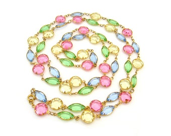 Vintage Pastel Bezel Set Crystal Rhinestone Necklace, 47 Inch Long Glass Strand, Costume Jewelry