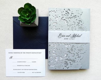 Shimmer Silver Gray Lace Wedding Invitation Suite for Vintage Wedding - Laser Cut Pocket Fold, Insert Card, RSVP, Belly Band, and Envelopes