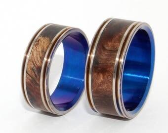 Wooden Wedding Rings, titanium ring, titanium wedding rings, Eco-friendly rings, mens ring, womens rings, wood rings - KISS ME