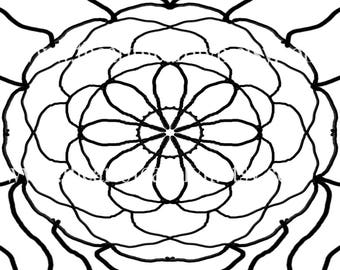 Kaleidoscopoic Themed Coloring Pattern Digital Download Art Therapy