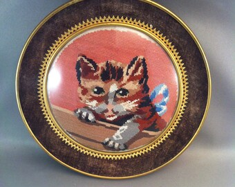 Vintage Framed Needlepoint Cat, Early Needlepoint Kitty Kat, Fine Needlepoint Cat, Victorian Style Needlepoint, Round Framed Cat, *USA ONLY*