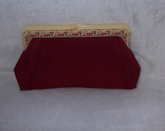 Roger Gimbel Accessories Maroon Clutch With Cream Plastic Frame with Flowers