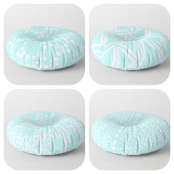 Bahama Blue floor cushion - Round cushion - Aqua Pillow - Round pillow - Floor pillow - Geometric pillow - 26 inch pillow - 30 inch pillow