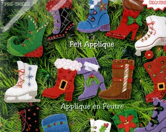 Felt Applique Kit High Boots Ice Skate Roller Skate Snow Boots Elf Shoes Spangles Beads Sequins Christmas Ornaments Craft Pattern