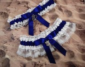 Policeman Thin Line Cobalt Blue Satin White Lace Badge handcuff Charm Wedding Bridal Garter Toss Set