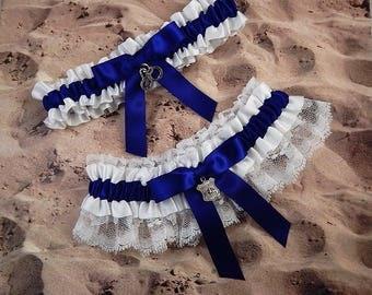 Policeman Cobalt Blue Satin White Lace Badge handcuff Charm Wedding Bridal Garter Toss Set
