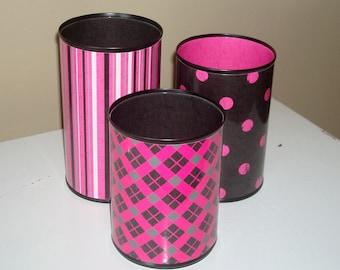 Black and Pink Desk Accessories, Punk Rock Pencil Holder, Make-up Holder, Office Organization, Office Decor, Dorm Decor, Coworker Gift  1079