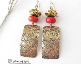 Hammered Brass Earrings, Red Coral Earrings, Statement Earrings, Gold Earrings Dangle, Modern Tribal Jewelry, Handmade Metalwork Jewelry