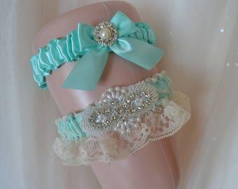Wedding Garter,Garter Set,bridal Garter, Bride Garter, Aqua Blue Wedding Garter, Rhinestone Garter Set