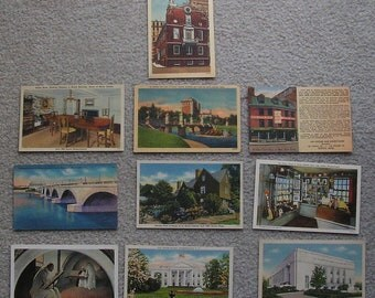 10 Assorted Linen Postcards of MA, DC, Fair to Very Good Condition