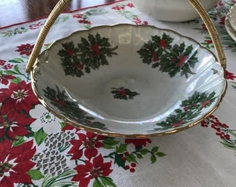Vintage Christmas Dish Holly Berry Decor Wire Handled Candy Dish Condiment Serving Dish Mid Century Modern Kitschy