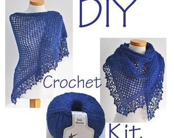 DIY Crochet Kit, Crochet shawl kit, ASHLEY, Navy blue, yarn and pattern