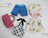 NEW Mini Pals  Dress up set #3 soft rag doll sewing pattern toy softie clothing bathing suit bonnet swim trunks