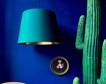 Hunter Green French Drum Lampshade with Gold Lining