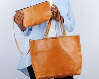 Leather Tote Bag Shoulder bag for women leather bag laptop bagLeather tote bag women work bag Weekend Bag