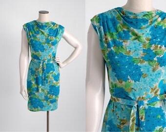 1960s Bonwit Teller blue floral Italian silk jersey dress * 5S961