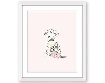 Lamb Nursery Art - Lamb with Blanket - Girl Nursery Decor - Lamb Art - Sheep Nursery Art - Children Art Print - Kids Wall Art - Baby Gift