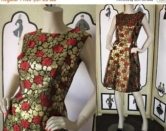 ON SALE Vintage 1960's Cocktail Dress in Gold Metallic, Vivid Red and Black. Small.