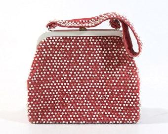 Vintage Lumured Petite Beaded Handbag / Purse