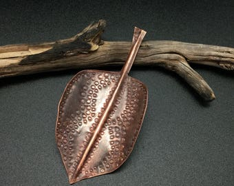 Fold formed pear leaf in copper