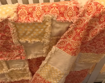 4 piece  set Orange yellow flower rag quilt  set