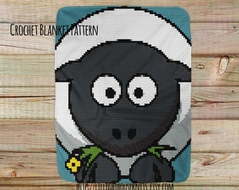 Sheep crochet - crochet blanket pattern - Corner to Corner - C2C - Written Line Counts - Cross Stitch - pattern baby blanket afghan pattern
