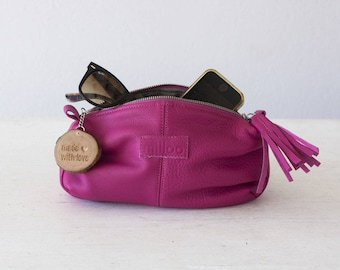Hot Pink leather makeup bag, cosmetic case vanity storage accessory bag toiletry case utility bag pouch - Ariadne makeup bag