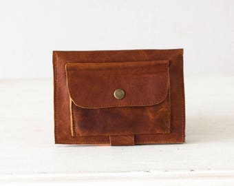 Brown leather bifold wallet, phone wallet bifold womens large leather phone wallet minimalist - Iole Wallet