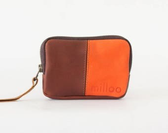 Small phone wallet in brown and orange, zipper pouch zipper phone case money bag zip purse - Myrto Zipper pouch