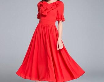 ruffle dress, chiffon dress, red dress, midi dress, elegant dress, prom dress, fitted dress, flare dress, womens dresses, handmade dress1757