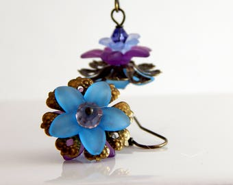 Blue and Purple Lucite Flower Earrings ~ Springtime Earrings ~ AdoniaJewelry